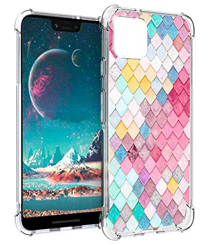 Leychan Google Pixel 4 XL Hülle, Slim Flexible TPU Airbag Stoßdämpfung Gummi Weiche Silikon Full Body Protective Case Cover Fit for Google Pixel 4 XL, Colorful Scale - Wet-glanz Gel