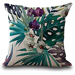 Funda de almohada con diseño de hojas de flores de Vintage mezcla de lino 45cm