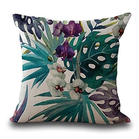 Rawdah Baomabao Couvre-lit Taie d'oreiller vintage Fleur Feuilles Housse de coussin Home Deco, Mélange lin, D, Size:45cm
