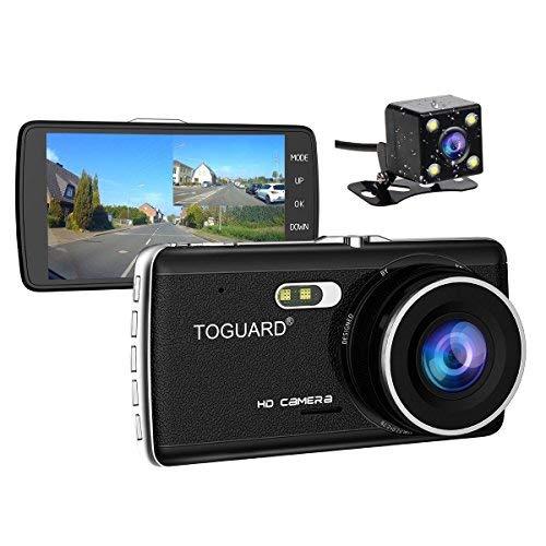 TOGUARD Caméra De Recul Caméra Voiture Full HD 1080P Écran 4.0'', DASHCAM Voiture Double Objectif, DVR, Dash Cam Grand Angle 170°, Enregistrement En Boucle, Capteur G - Avec Caméra Arrière Étanche