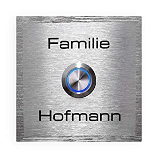 Doorbell Stainless-Steel Sign LED Waterproof Push-Button Flush-mounting Size (Square: 4.3 x 4.3'', with Engraving)