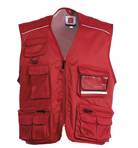 CHEMAGLIETTE! Giacca da Lavoro Smanicato Gilet Estivo con Composizione Multitasche Pocket, Colore: Rosso, Taglia: M