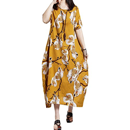 Romacci Summer Women Plus Size Casual Dress Floral Print Loose Dress Short Sleeve Round Neck Pockets Oversize Long Dress Kaftan,S-5XL