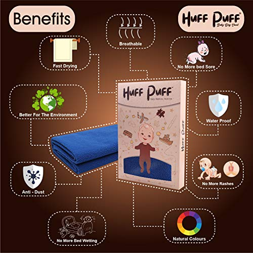 HuffPuff Absorbent Sheets Quick Dry Mattress Waterproof Sheet/Baby Bed Protector (Maroon, 70 x 100 cm, Medium)