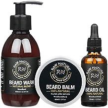 rawnature® Premium Luxury gift Set–barba Petróleo, bálsamo para barba y barba Champú–Pack de 3
