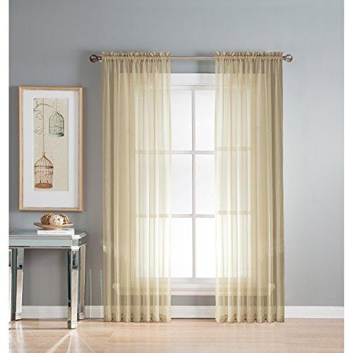 Fenster Elements Sheer Elegance Strukturierte Leinenoptik Vorhang Rod Pocket Panel Paar, Taupe, (Window Covering Ideen)