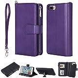 FNBK Handyhülle für iPhone 6 Plus Hülle Lila, Brieftasche Lanyard Handtasche Leder hülle Wallet Flip Cover Stand Kartenfach Reißverschluss Magnet Schutzhülle für iPhone 6 Plus/6S Plus 5.5