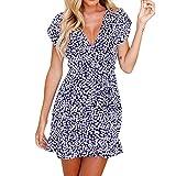 Damen kleid Hffan Frauen Elegant Kurzarm Blumendruck V-Ausschnitt Sommer Mini Abend Party Kleid Abendkleid MiniKleid Freizeitkleid Cocktailkleid Spitzenkleid SommerKleid (Blau, XL)