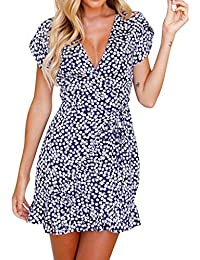 2d2215260e5750 Damen kleid Hffan Frauen Elegant Kurzarm Blumendruck V-Ausschnitt Sommer  Mini Abend Party Kleid Abendkleid