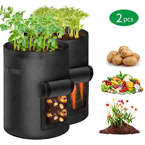 CestMall Potato Grow Bag, 2er-Pack Kulturtasche, tragbar 5,7 Gallonen Pflanzbeutel Pflanzbeutel, atmungsaktives Vliestuch Gemüsepflanzenanbau Pflanzbeutel für Kartoffel/Karotte/Zwiebel - Schwarz