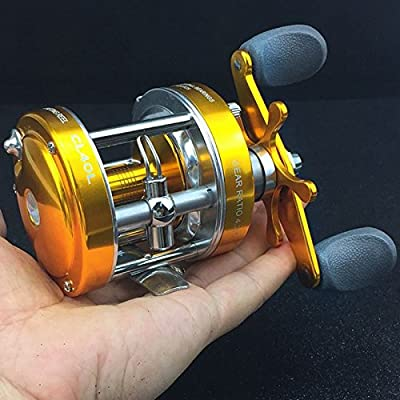 Zantec Spinning Ice Fishing Reel Baitcaster Reel with Oversized Handle Golden Right Hand from Zantec