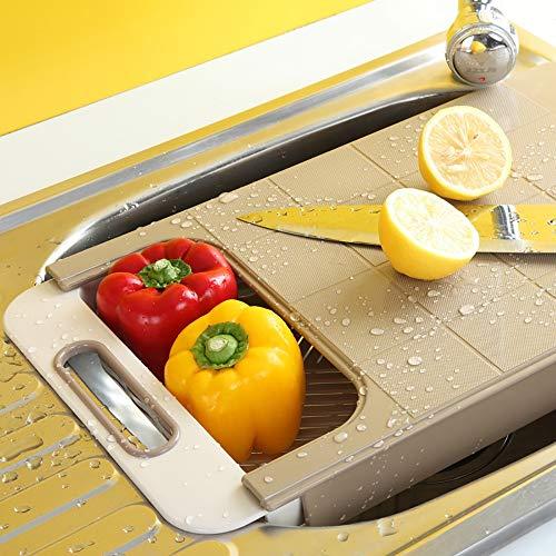 LOVEHOUGE Schneidebrett Schneidebrett über dem Waschbecken, 2-in-1-Multifunktions-Schneidebrett für Gemüse und Obst (16,5x9,6x3 Zoll),2 (Schneidbretter Für Dem Waschbecken über)