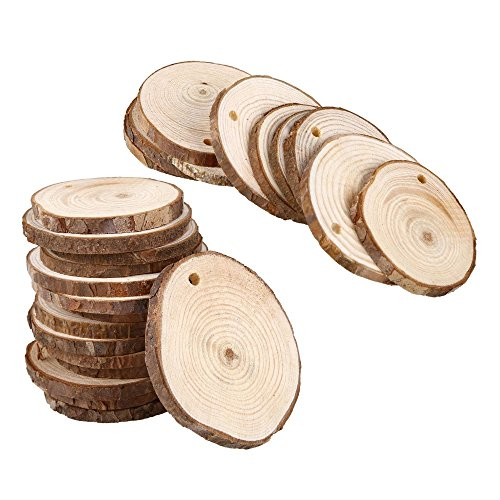 50 Pack of 4-5cm Round Natural Wood Slices with Threading Hole by Kurtzy - Rustic Wood Discs with Bark and Smooth Finish - 5mm Thickness Depth - Wooden Rounds for Crafts and Decorations