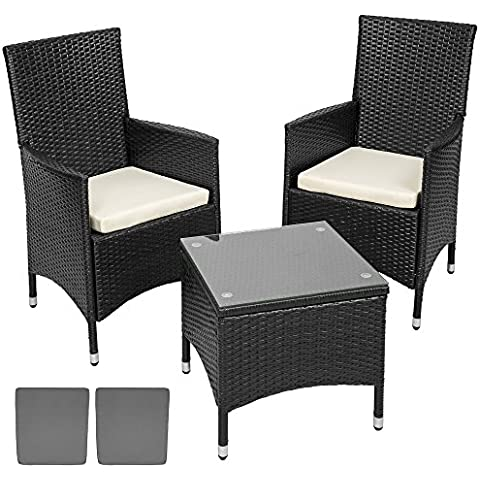 TecTake Conjunto muebles de Jardín en Aluminio y Poly Ratan Sintetico negro 2 plazas, 2 sillones, 1 mesa baja + 2 Set de fundas intercambiables