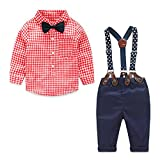 Yilaku Baby Jungen Bekleidungssets Hosen & Shirt Gentleman Hosenträger Krawatte (Rot, 18-24 Monate)