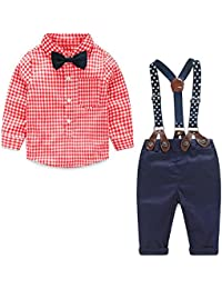 8c1abefa37b3 Baby Boy Clothes Outfits Sets Autumn Newborn Infant Clothing Gentleman Suit  Suspender Trousers+Top+