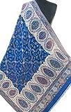 Heritage Trading damen Königliche Hand-Cut Kani Wollschal. Elfenbein-Verpackungs-Blumen-Rebe groß königsblau