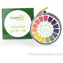 Simplex Health - Tornasol con rollo de tiras de papel para test de PH 0–14,para agua, orina y saliva, 5metros