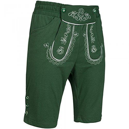 PAULGOS Herren Kurze Jogginghose Optik Trachten Lederhose bestickt in 3 Farben Gr. 44-60, Farbe:Grün, Größe Lederhose:54