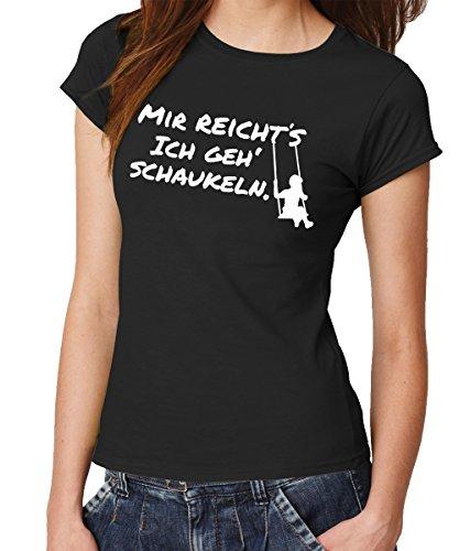 clothinx - Mir reicht\'s ich geh\' schaukeln. - Girls T-Shirt Schwarz, Größe XL