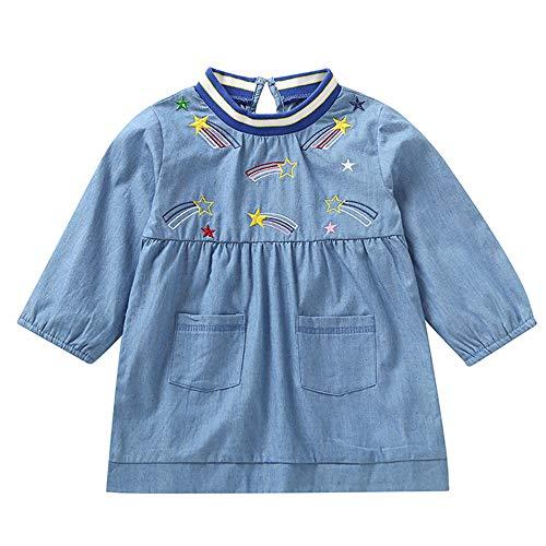 Oyedens Mädchen Denim Kleid Long Sleeve Top Pocket Kleinkind-Säuglingsbaby-Cowboy-Stickerei mit Langen ärmeln Pocket Shirt Bluse (18M-5T