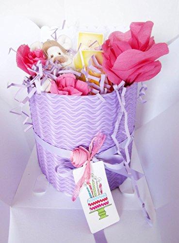 Windeln Kuchen Dodot mit Plüsch und 3 Cremes Weleda | Modell MARIGOLD | Personalisierte mit dem Namen des Baby- | Windeltorte | Baby-Dusche-Geschenk-Idee | Tone Rosa / Lila, für Sissies