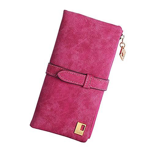 Deloito Geldbörsen 2018 Frau Geldbörsen Kordelzug Nubuk Leder Reißverschluss Brieftasche (Rose rot)