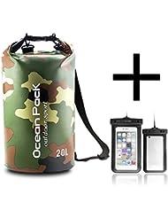 Sac étanche, UWILD ® Sacs Rafting Durable imperméable 20 litres 30 litres sac à sec avec le téléphone étanche cas sac pour le kayak, la randonnée, le camping, le ski, la natation, sur la plage, le vélo et les sports nautiques