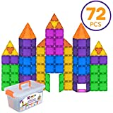 K-TILES Magnetic Building Blocks For Kids (72 Pieces): Colorful Tiles With Strong Magnets, Educational Toys For Children, Creativity, Imagination, Cognitive Development & Motor Skills For Girls & Boys