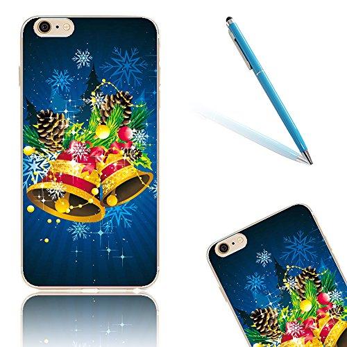 iPhone 8 Hülle, Luxus Christmas Series CLTPY iPhone 7 Dünne Weich Silikon Handytasche mit Transparent Bumper für Apple iPhone 7/8 + 1 x Freier Stift - Glocke Obst&Glocke