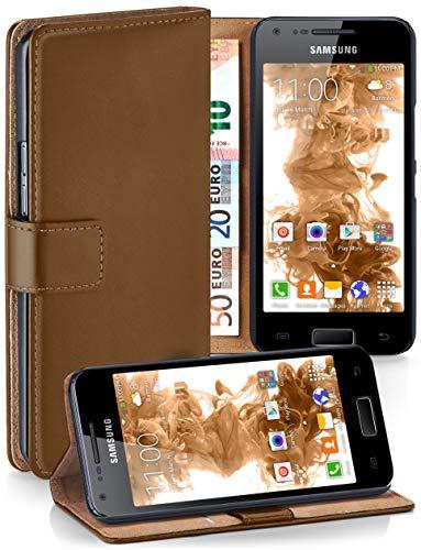 moex® Booklet mit Flip Funktion [360 Grad Voll-Schutz] für Samsung Galaxy S2 / S2 Plus | Geldfach und Kartenfach + Stand-Funktion und Magnet-Verschluss, Braun