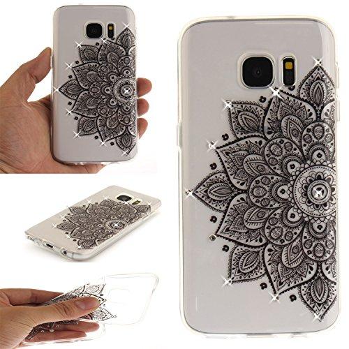 Ooboom® Hülle für Samsung Galaxy S7 Handy Tasche Transparent TPU Silikon Gel Ultra Dünn Schutzhülle Case Cover mit Bling Glitter - Schwarz Blume