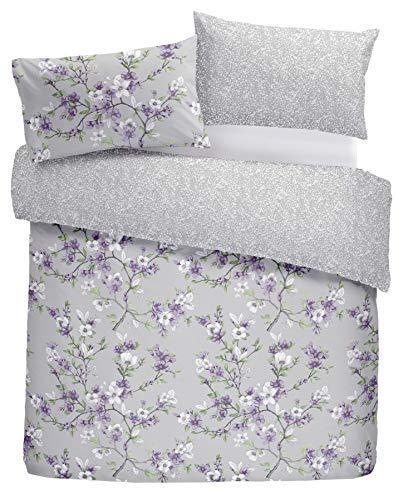 Handgezeichnete Stil Blume Blumen Lila King Size 5 Teile Schlafzimmer Set (Bettwäsche-daunendecke-abdeckung)