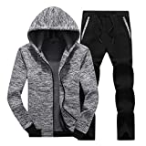 Hoodie Jacken für Herren Zweiteilige Trainingsanzug Kaiki Bequem Trainingsanzug Männer Langarm Sport Hose(XX-Large,Grau)