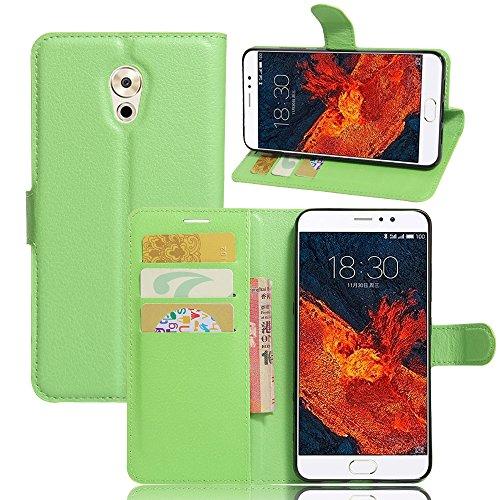 WolinTek Meizu Pro 6 Plus Kunstleder Tasche im Bookstyle, Ledertasche Handyhülle Etui Flip Wallet Case Klapphülle mit Kartenfach und Ständer Lederhülle Hülle für Meizu Pro 6 Plus, grün