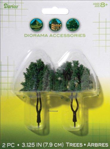 Darice Modèle 3700-19 poudrés Fibre 2-Pack Diorama Arbres avec Double Coffre et floqué Feuilles, 3-1/20,3 cm
