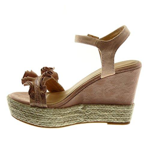 718ac41ff049 ... Angkorly Damen Schuhe Sandalen Espadrilles - Plateauschuhe - mit Rüschen  - Strass - Seil Keilabsatz High ...
