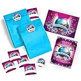 12 Einladungskarten zum Geburtstag VIP / Kindergeburtstag / Disco-Kugel / Pink/ Disco-Party / Einladungen zum Geburtstag für Mädchen incl. 12 Umschläge, 12 Party-Tüten / blau, 12 Aufkleber