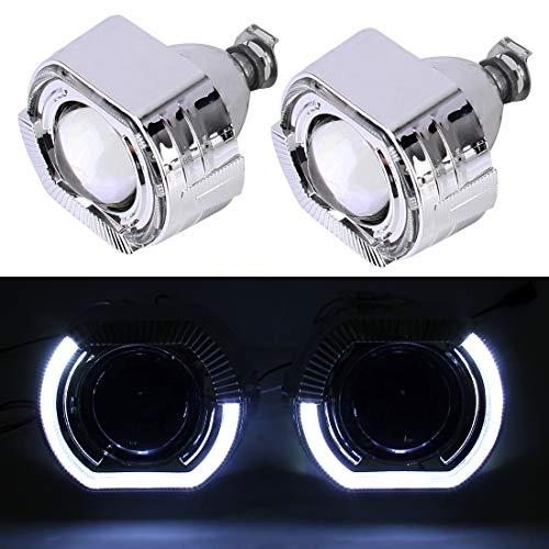 PengSF PSF IPHCAR H1 2,5 Zoll 12 V Bi-Xenon Projektorobjektiv Scheinwerfer mit Exquisite Winkel Augen Dekoration for Rechtsfahren (Weißes Licht)