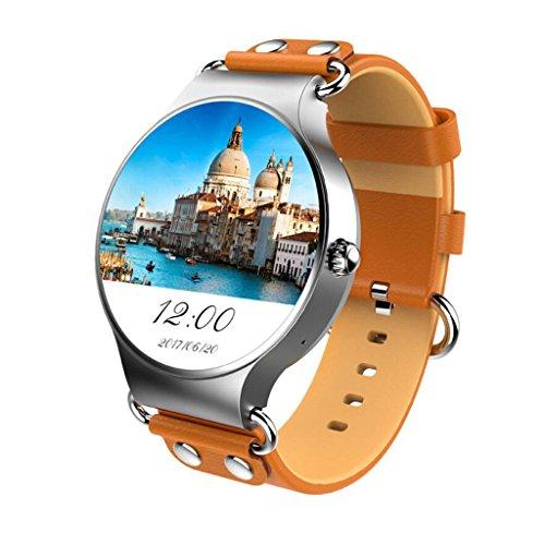 HHRONG Smartwatch Armband & Armband, Sport Fitness Activity Tracker mit Bluetooth Schrittzähler Laufschritte Kalorien Zähler für Männer & Frauen 1,3 GHz Quad-Core-Rundschirm (Farbe : Braun)