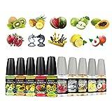 Salcar® 10 Pack 10ml Premium E-Liquid für E-Zigarette, 0,0mg Nikotin, Apfel-Smoothie, Wassermelone-Smoothie, Kiwi-Smoothie, Papaya-Smoothie, Ananas-Smoothie,Großmeister, Schloss Lang, Granatapfel, Pfirsichmilch, Zitroneneis