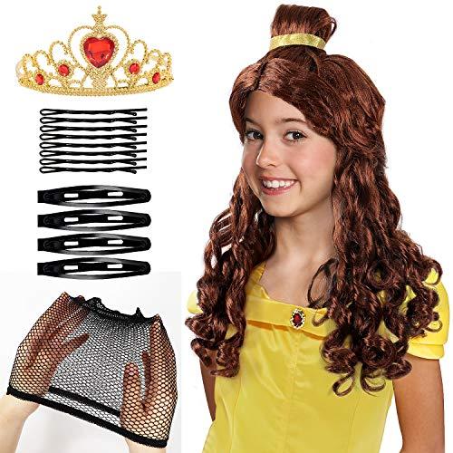 Kostüm Belle Perücke - Tacobear Prinzessin Belle Perücke mit Prinzessin Krone Prinzessin Belle Kostüm Zubehör für Kinder Mädchen