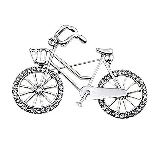 Emorias 1PC Elegante Kristall Fahrrad Brosche Anstecker für Strickjacke Mantel und Schultertücher   Klassisches Accessoire für Damen (Silber)