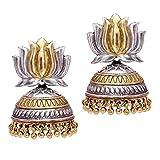 #5: Trijya Exports Elaegant Lotus design stud Silver Oxidised Dual Tone Plated Jhumka Earrings for women