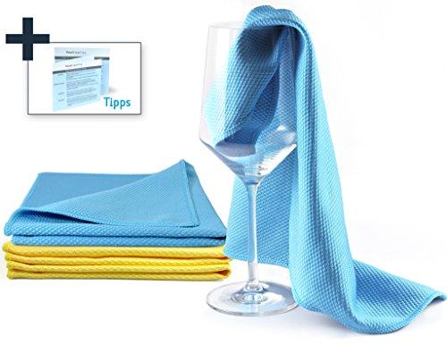 YouniClean 4 Stück 40 x 40 cm Premium Glaspoliertücher Microfaser + 4-seitige Glas-Polieranleitung...