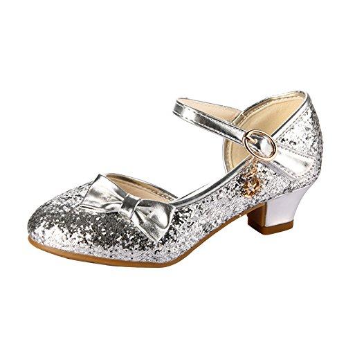 Amur Leopard Fille Ballerine Chaussures à talons à Déguisement Princesse Nœud Papillon Paillettes Argent