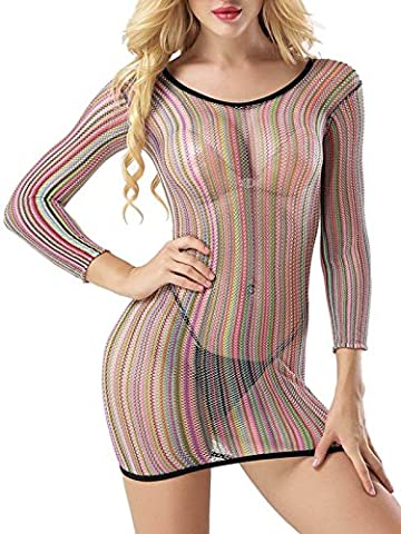 Lingerie Mini Dress Fancy Women Chemise FasiCat Negligee Stretch for Topshop Popular Rainbow Style3