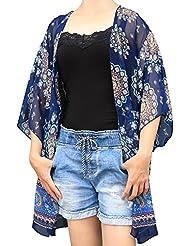 Plage Kimono Floral Cover Up - Mingtong Maillot de bain Coverup décontracté Swim Housse d'été Cardigan Sarong Wrap pour Tankini maillots de bain Maillot de bain pièces Bikini, convient pour les femmes et les filles, taille Plus