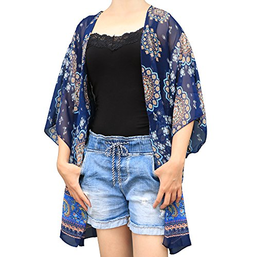 Strand Kimono Floral Cover Up–mingtong Badeanzug Coverup Casual Cardigan Swim Cover Sommer Sarong Wrap für Tankini Bademode Badeanzug Beachwear Bikini, geeignet für Frauen und Mädchen, plus Größe (Up Cover Kinder Badeanzug)
