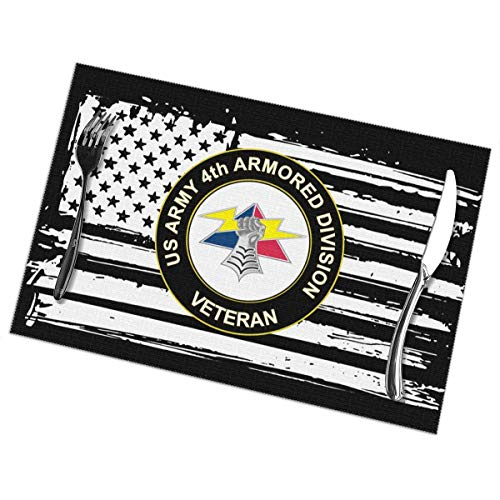 US Army 4th Armored Division Unit Crest Veteran Placemats Funny Table Mats Heat-Resistant Non-Slip Set of 6 -